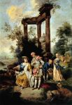 Familie Goethe in Schäfertracht (Maler:  Johann Conrad Seekatz), Cornelia rechts im Bild, Bildquelle [2]