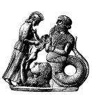 Gaia steigt aus dem Boden auf und übergibt Erichthonios an Athena. Rechts davon Kekrops. Melisches Relief, um 460 v. Chr. Bildquelle: [B]