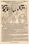 Flugblatt aus Basel: Beschreibung eines auffälligen Sonnenunter- und Sonnenaufganges und schwarzer Kugeln, die am 27./28. Juli und am 7. August 1566 über Basel beobachtet wurden.