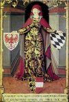 Bildnis der Margarethe Maultasch aus der Ambraser Sammlung, Öl auf Leinwand, 1. Hälfte 16. Jahrhundert. Mit den Wappen von Tirol, Bayern und Kärten Bildquelle [B]