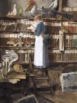 """""""Lesendes Dienstmädchen in einer Bibliothek"""" von Edouard John Mentha (1858–1915) Bildquelle [B]"""